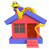 Snake cartoon character with home Royalty Free Stock Photos