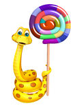 Snake cartoon character  with lollypop Royalty Free Stock Photography