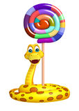 Snake cartoon character with lollypop Stock Image
