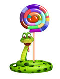 Snake cartoon character with lollypop Royalty Free Stock Photo