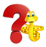 Snake cartoon character with question sign Royalty Free Stock Photos