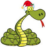 Snake Cartoon Character With Santa Hat Royalty Free Stock Image