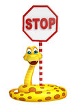 Snake cartoon character with stop Royalty Free Stock Photos