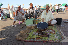 Snake charmer. On the Djema el Fna square in Marrakesh stock photos