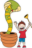 Snake Charmer. Cartoon image of a child being a snake charmer royalty free illustration