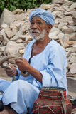 Snake Charmer, Egypt. A typical snake charmer on the road of Cairo Royalty Free Stock Photos