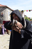 Snake Charmer, European Medieval Market, Portugal Royalty Free Stock Images
