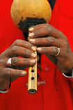 Snake charmer hands. On his musical instrument Royalty Free Stock Images