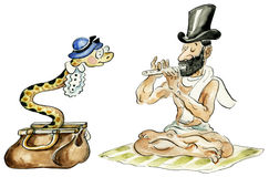 Snake charmer and his snake. Comic illustration Stock Images