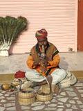 Snake charmer makes snake dancing. Snake charmer plying his instrument to makes snake dancing Royalty Free Stock Photo