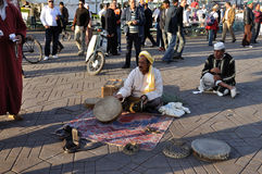 Snake charmer in Marrakesh Royalty Free Stock Images