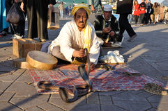 Snake charmer in Marrakesh Stock Image