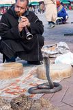 Snake charmer - Morocco. MARRAKESH, MOROCCO - JANUARY 27: Snake charmer at Djemaa el Fna square. January 27, 2010 in Marrakesh, Morocco Royalty Free Stock Images