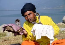 Snake charmer in Nepal Royalty Free Stock Photos