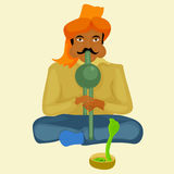 Snake charmer playing the instrument. vector illustration vector illustration