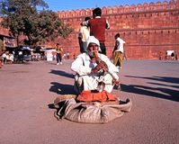 Snake charmer by the Red Fort, Delhi. Stock Image