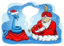 Snake charmer Santa Stock Photography