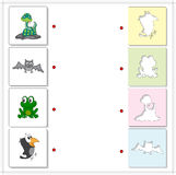 Snake, crow, frog and bat. Educational game for kids Royalty Free Stock Photography