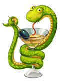 Snake on cup. Green snake. Martini glass with olive. Snake on cup (medicine symbol). Freehand drawing Stock Photos