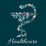 Snake and cup pharmacy symbol with medical icons Stock Photo