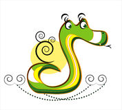Snake with curl on white background. Snake with decorative black curl on white background Royalty Free Stock Photography