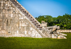 Snake detail of Mayan Temple pyramid of Kukulkan - Chichen Itza, Mexico Royalty Free Stock Photo