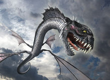 Snake Dragon Attacks. A snake dragon swoops down from the sky to attack it prey - 3D render Royalty Free Stock Photos