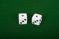 Snake Eyes On Dice. Snake eyes rolled on a pair of dice royalty free stock photography
