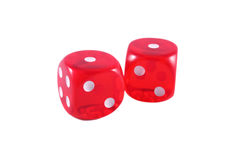 Snake eyes dices isolated in white. Two red dices, snake eyes combination, isolated on white background royalty free stock photos