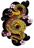 Snake with flower and Japanese cloud tattoo design vector Royalty Free Stock Photography