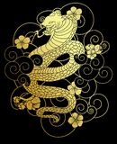 Snake with flower and Japanese cloud tattoo design vector Royalty Free Stock Image