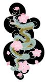 Snake with flower and Japanese cloud tattoo design vector Stock Photo