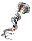 Snake and fountain pen Royalty Free Stock Photo