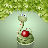 Snake with the fruit of sin Royalty Free Stock Photo
