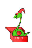 Snake in gift box. Symbol 2013. drawing by hand. isolated on white background royalty free illustration