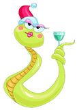 A snake with a glass of Royalty Free Stock Image