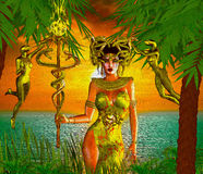 Snake Goddess. A magical, fantasy snake goddess stands in front of the sea and sunset. stock illustration
