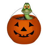 Snake in the  halloween candy pumpkin Royalty Free Stock Photography