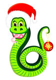 Snake in the hat of Santa Claus Royalty Free Stock Photos