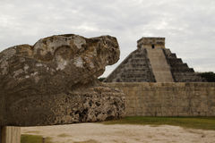 Snake head, Chichen Itza Stock Images