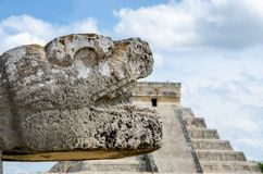 Snake head at Chichen Itza, Wonder of the World Stock Photography