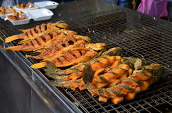 Snake-head fish deep Fried and Tilapia Fish deep Fried for sale Royalty Free Stock Images