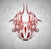 Snake head tattoo. Monster snake head tattoo shape with decorative backdrop Stock Photos