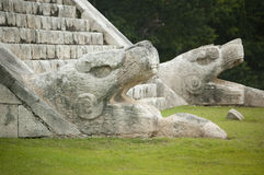 Snake Heads Monuments. Snake Head Monuments At The El Castillo Temple, Chichen Itza, Mexico royalty free stock photography