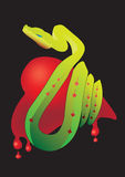 Snake heart. Symbol of snake in temptation on heart of world people Royalty Free Illustration