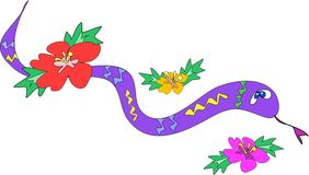 Snake with Hibiscus Flowers Stock Photo