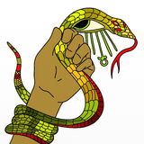 Snake in his hand and ankh Royalty Free Stock Image