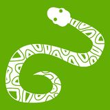 Snake icon green. Snake icon white  on green background. Vector illustration Royalty Free Stock Images
