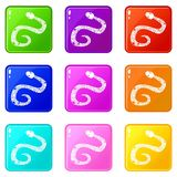 Snake icons 9 set. Snake icons of 9 color set  vector illustration Stock Photos