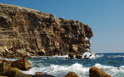 Snake Island cliffs. Scenic view of rocky cliffs on Snake or Serpent island, Black Sea, Ukraine Royalty Free Stock Photo